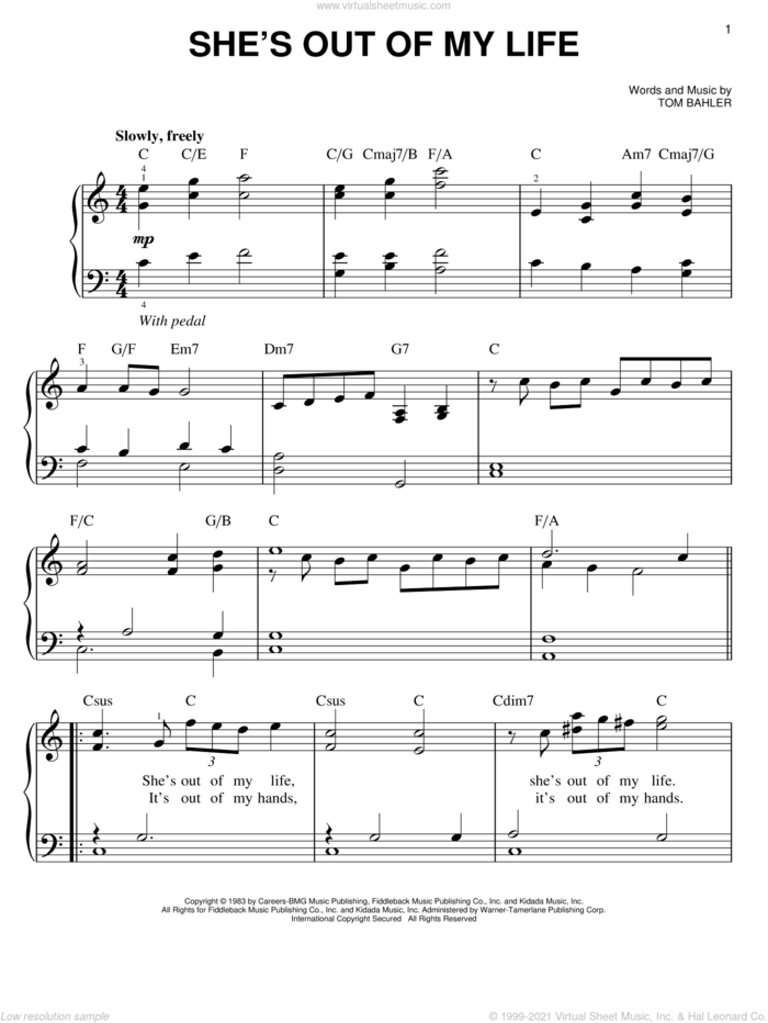 She's Out Of My Life sheet music for piano solo by Josh Groban and Tom Bahler, easy skill level