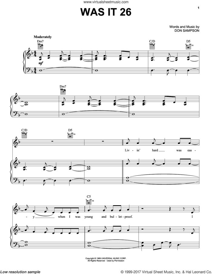 Was It 26 sheet music for voice, piano or guitar by Chris Stapleton and Don Sampson, intermediate skill level