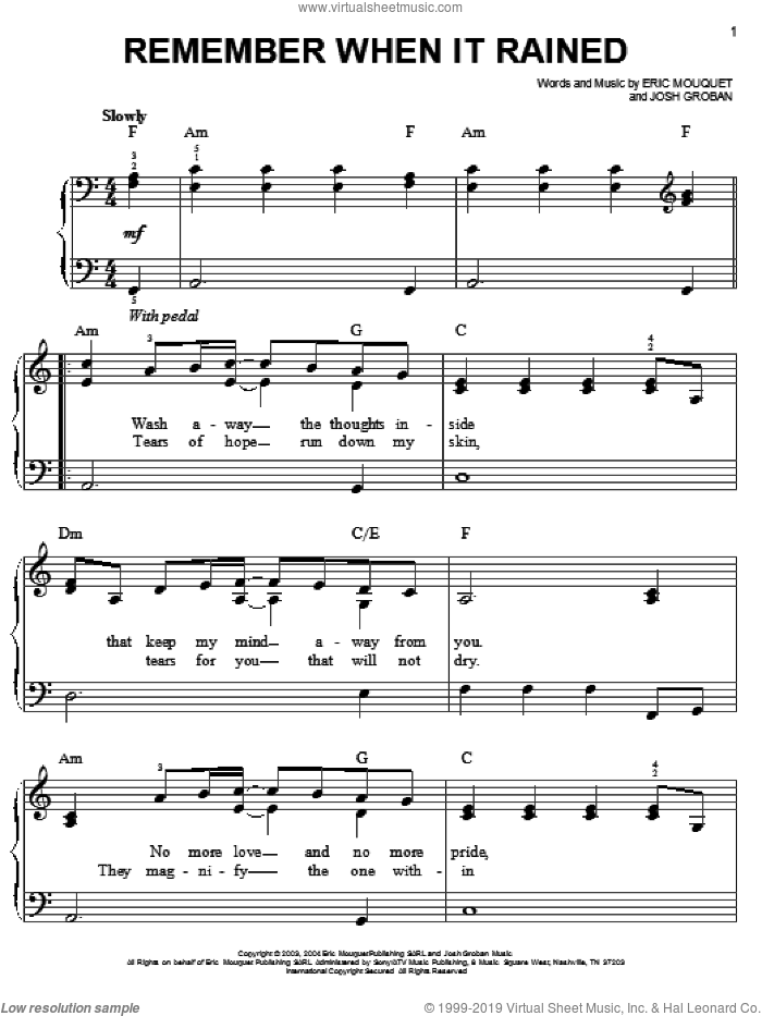 Remember When It Rained sheet music for piano solo by Josh Groban and Eric Mouquet, easy skill level