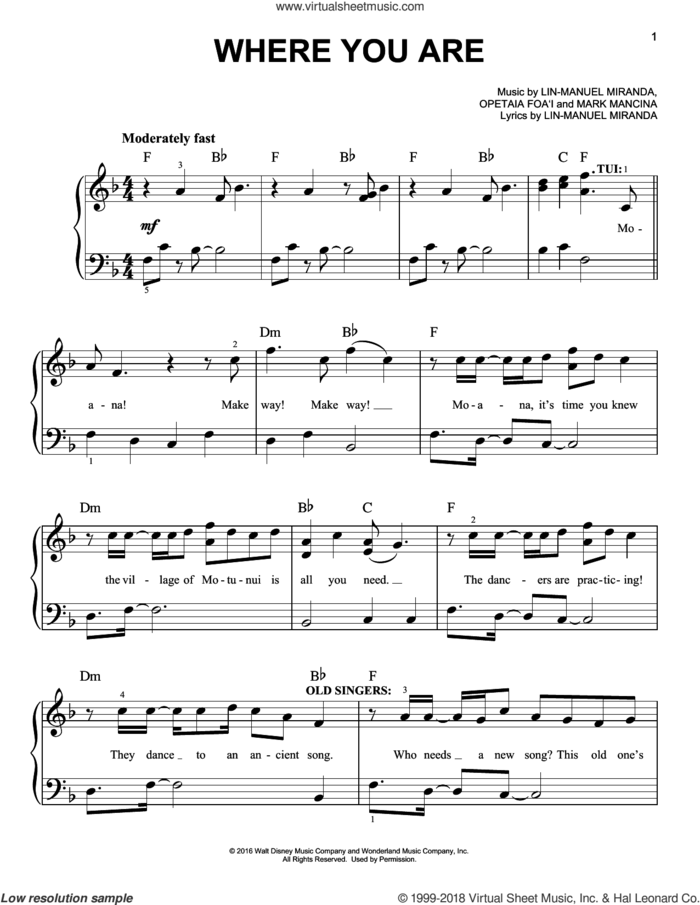 Where You Are (from Moana), (easy) sheet music for piano solo by Lin-Manuel Miranda and Mark Mancina, easy skill level