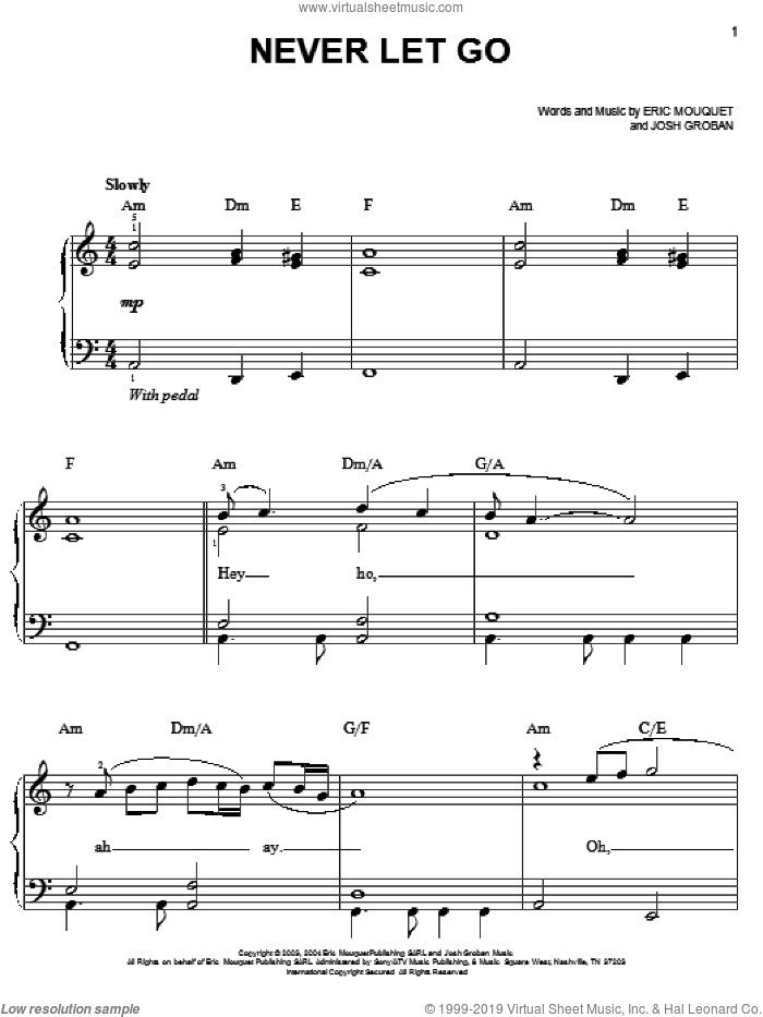 Never Let Go sheet music for piano solo by Josh Groban and Eric Mouquet, easy skill level