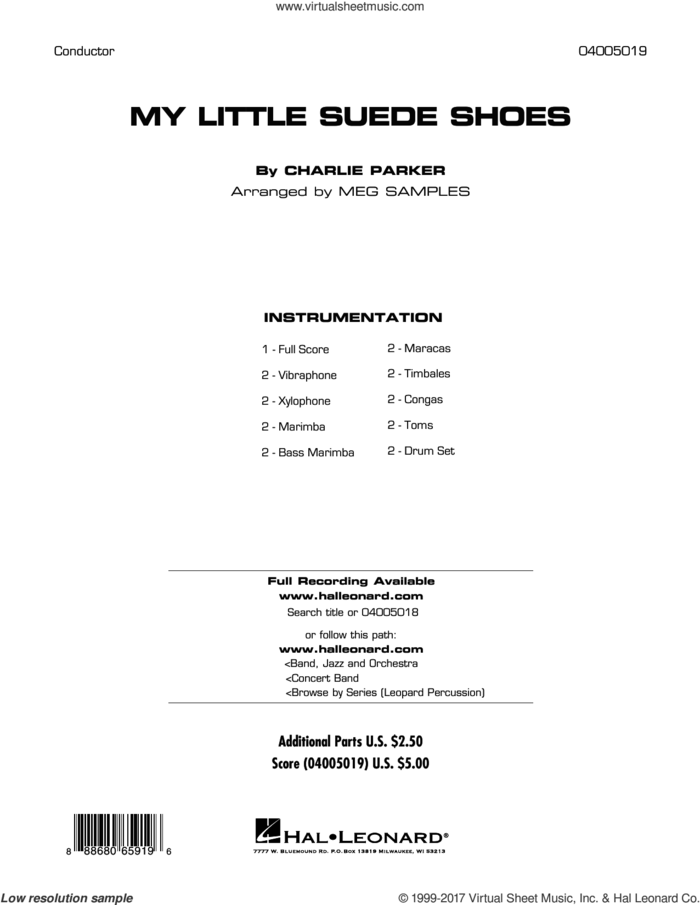 My Little Suede Shoes (COMPLETE) sheet music for concert band by Charlie Parker and Meg Samples, intermediate skill level