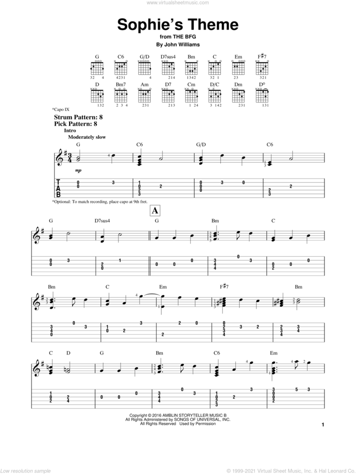 Sophie's Theme sheet music for guitar solo (easy tablature) by John Williams, easy guitar (easy tablature)