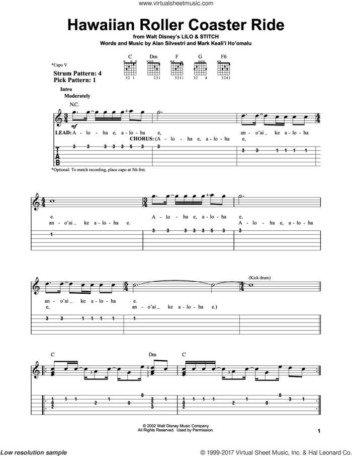 Hawaiian Roller Coaster Ride sheet music for guitar solo (easy tablature) by Mark Keali'i Ho'omalu and Alan Silvestri, easy guitar (easy tablature)