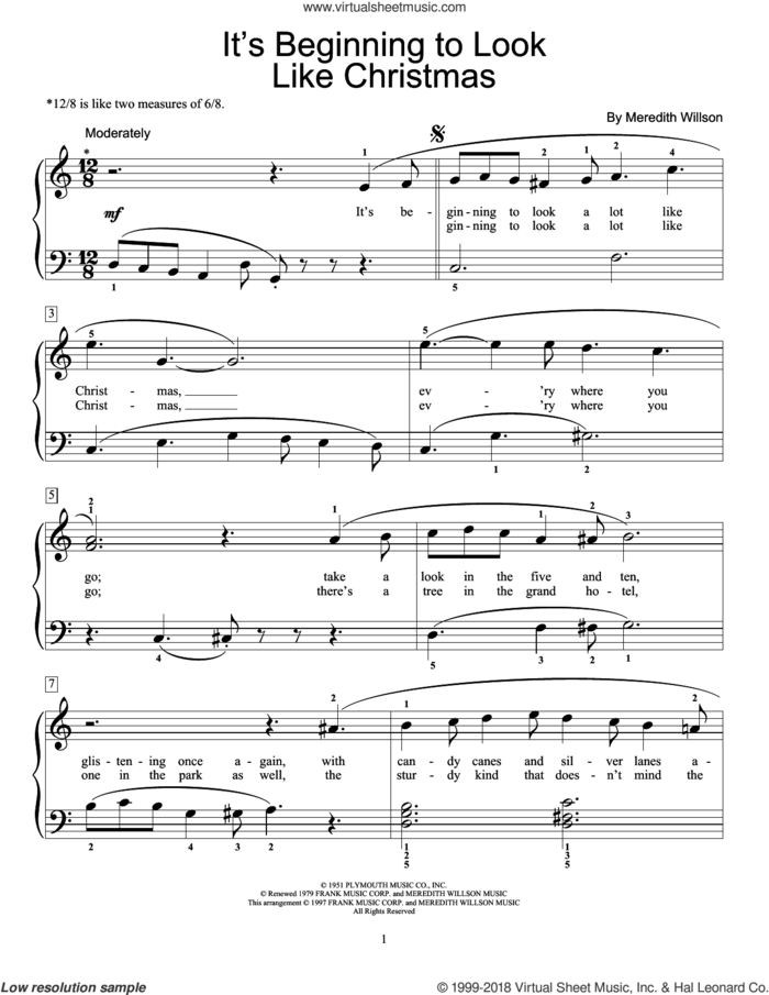 It's Beginning To Look Like Christmas sheet music for piano solo (elementary) by Meredith Willson, beginner piano (elementary)