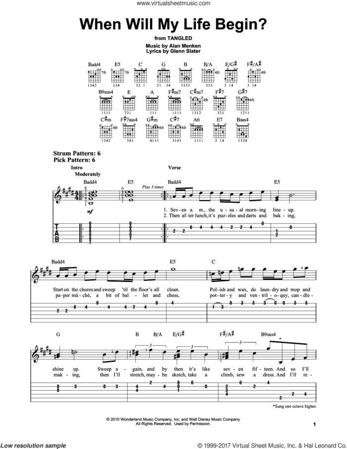When Will My Life Begin? (from Disney's Tangled) sheet music for guitar solo (easy tablature) by Mandy Moore, Alan Menken and Glenn Slater, easy guitar (easy tablature)