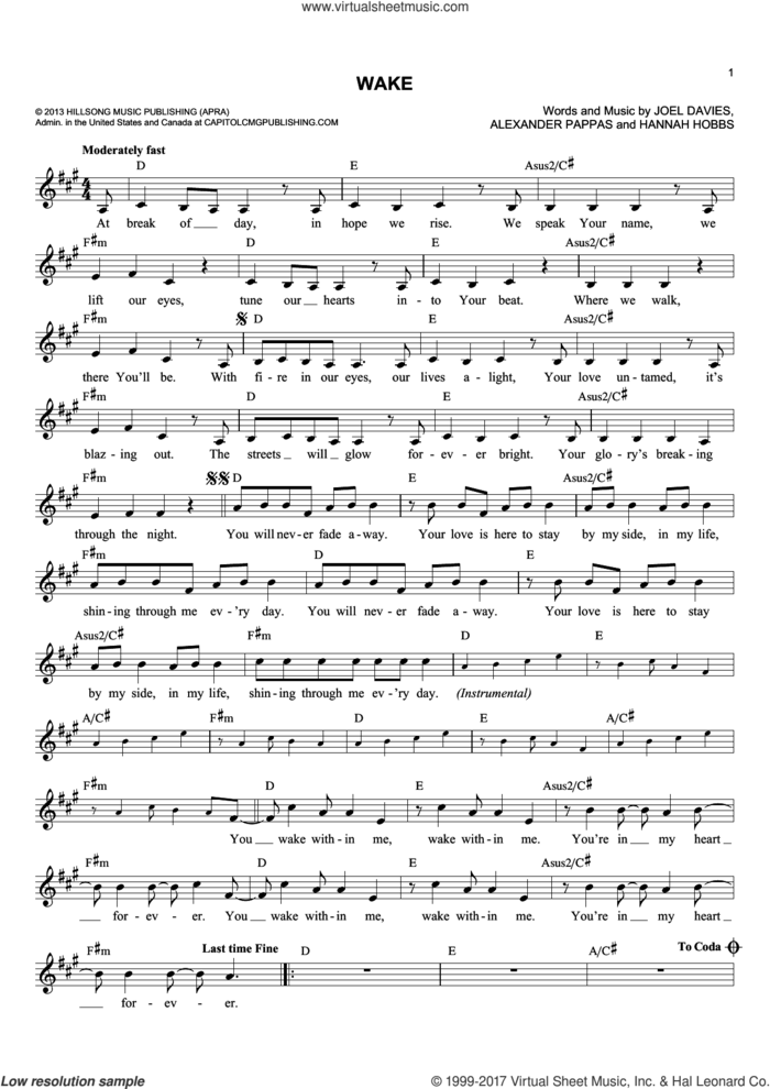 Wake sheet music for voice and other instruments (fake book) by Hannah Hobbs, Alexander Pappas and Joel Davies, intermediate skill level