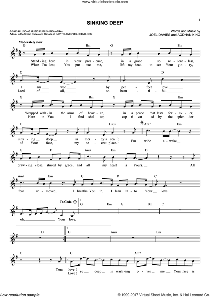 Sinking Deep sheet music for voice and other instruments (fake book) by Joel Davies and Aodhan King, intermediate skill level