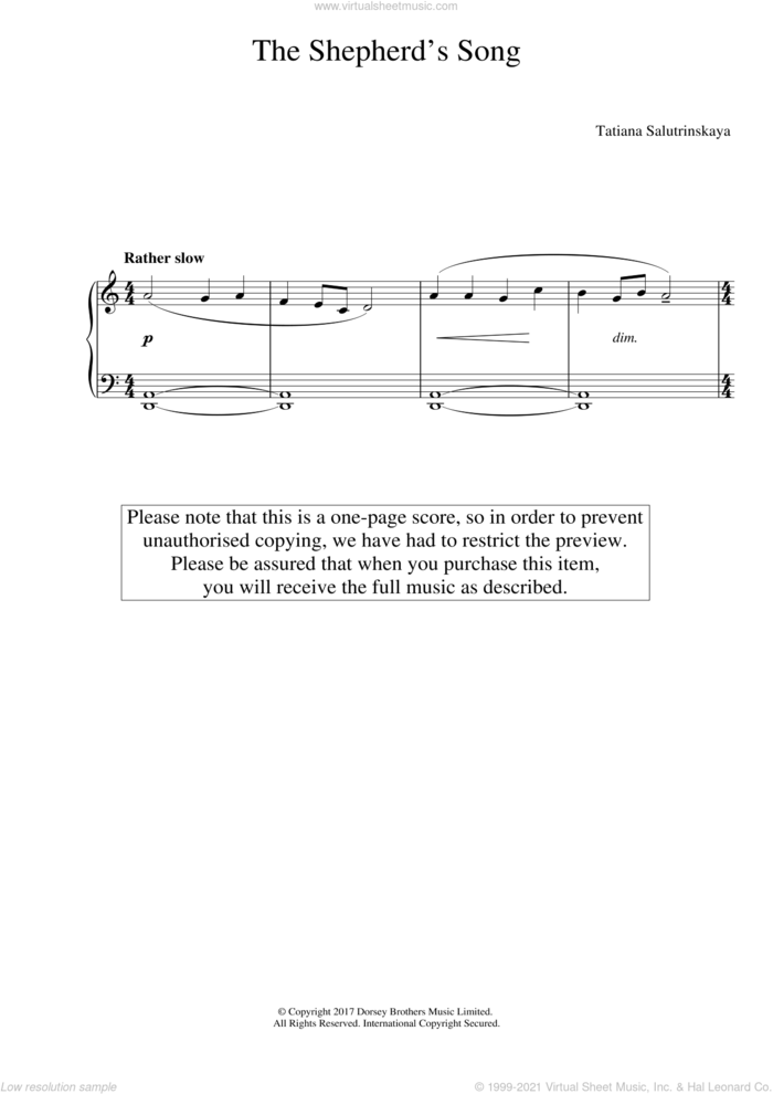 The Shepherd's Song sheet music for piano solo by Tatiana Salutrinskaya, classical score, easy skill level