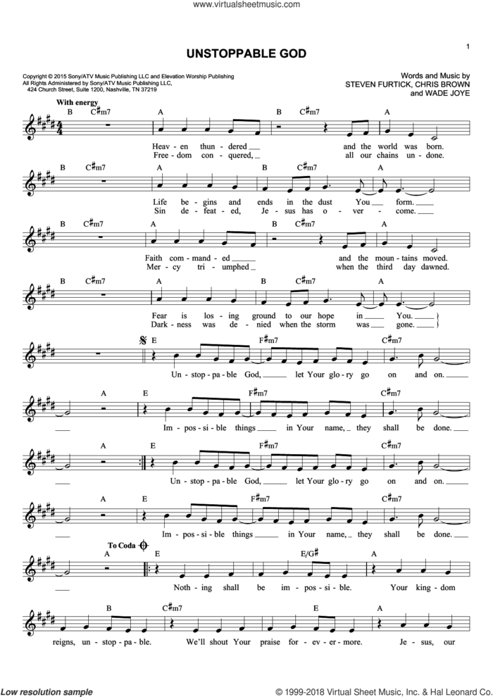Unstoppable God sheet music for voice and other instruments (fake book) by Chris Brown, Steven Furtick and Wade Joye, intermediate skill level