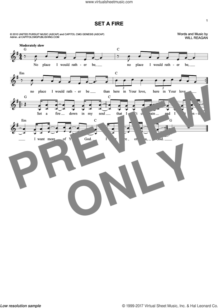 Set A Fire sheet music for voice and other instruments (fake book) by Will Reagan, intermediate skill level