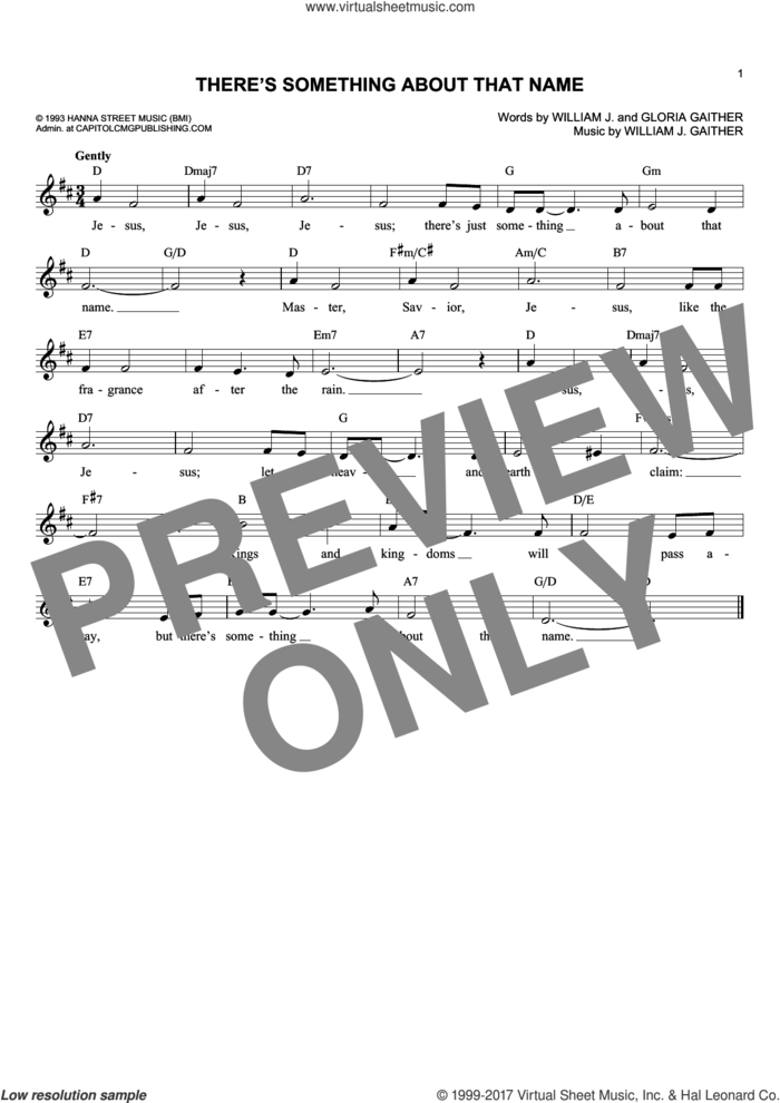 There's Something About That Name sheet music for voice and other instruments (fake book) by Gloria Gaither and William J. Gaither, intermediate skill level