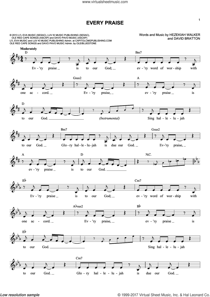 Every Praise sheet music for voice and other instruments (fake book) by David Bratton and Hezekiah Walker, intermediate skill level