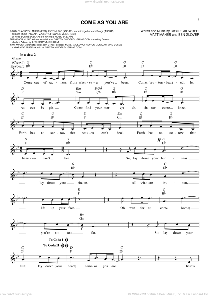 Come As You Are sheet music for voice and other instruments (fake book) by Matt Maher, Ben Glover and David Crowder, intermediate skill level