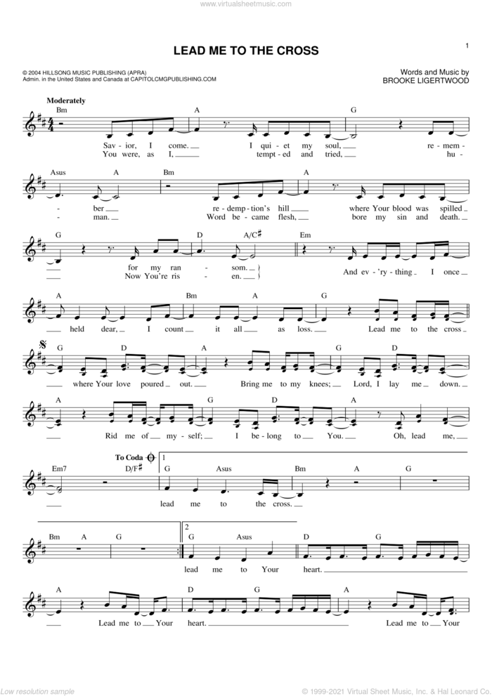 Lead Me To The Cross sheet music for voice and other instruments (fake book) by Hillsong United and Brooke Ligertwood, intermediate skill level