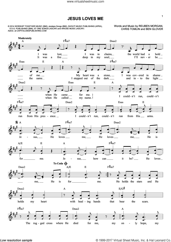 Jesus Loves Me sheet music for voice and other instruments (fake book) by Chris Tomlin, Ben Glover and Reuben Morgan, intermediate skill level