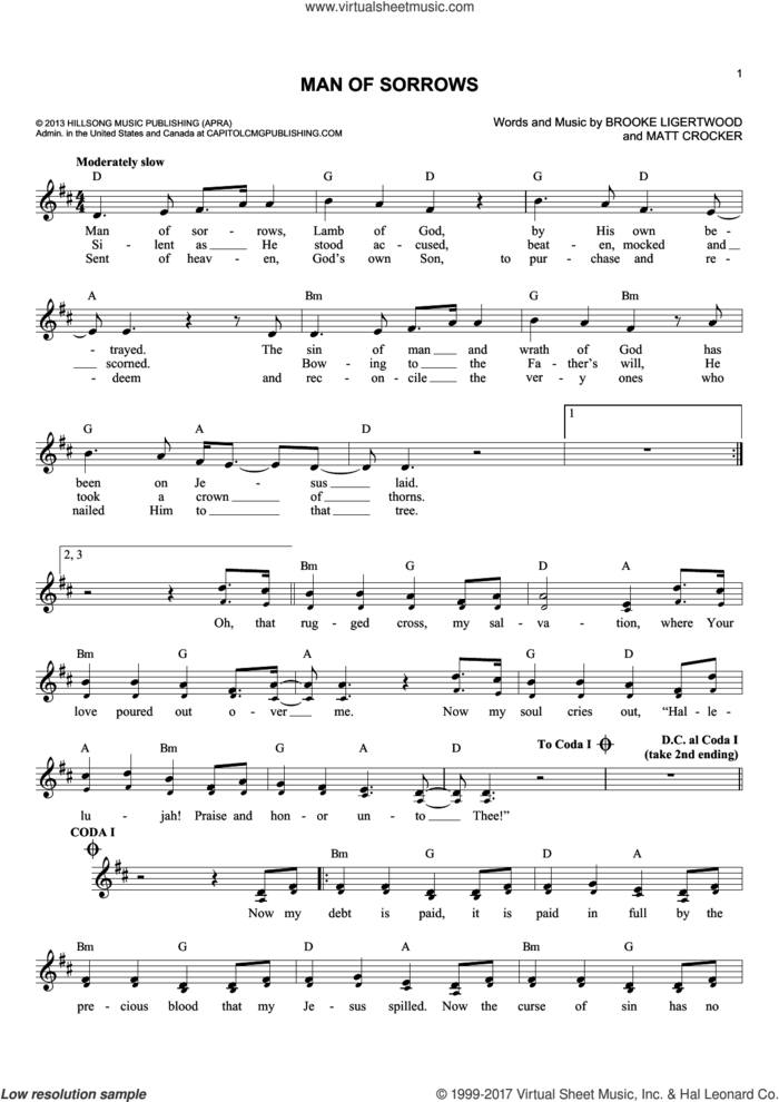Man Of Sorrows sheet music for voice and other instruments (fake book) by Brooke Ligertwood and Matt Crocker, intermediate skill level