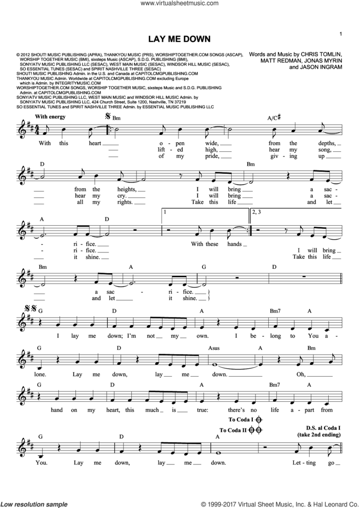 Lay Me Down sheet music for voice and other instruments (fake book) by Passion, Chris Tomlin, Jason Ingram, Jonas Myrin and Matt Redman, intermediate skill level