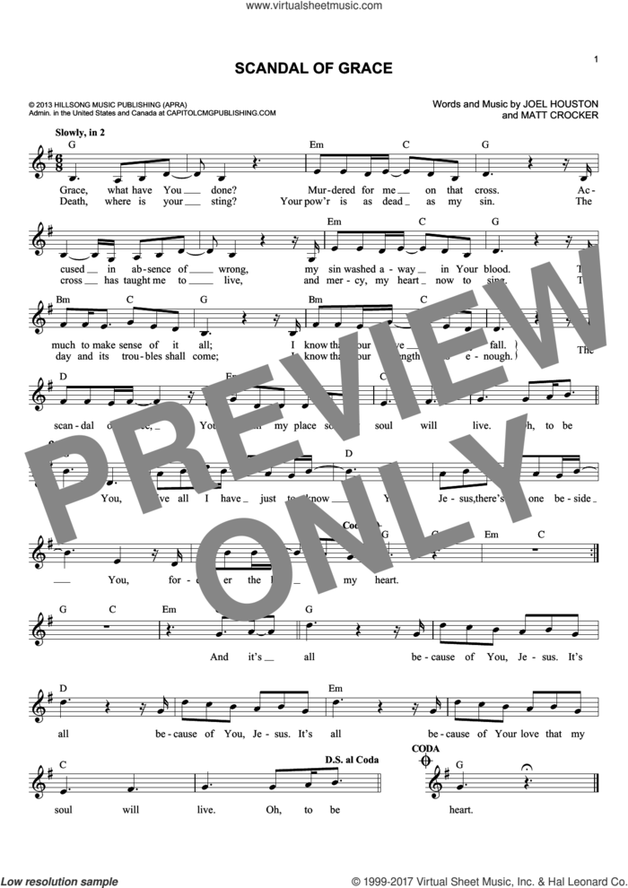 Scandal Of Grace sheet music for voice and other instruments (fake book) by Matt Crocker and Joel Houston, intermediate skill level
