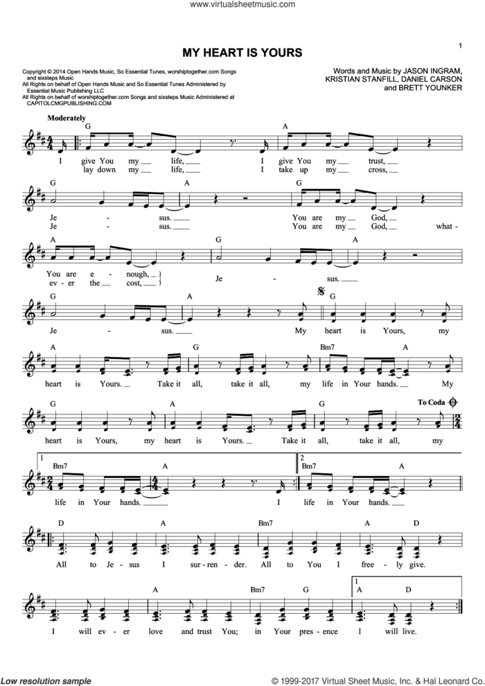 My Heart Is Yours sheet music for voice and other instruments (fake book) by Brett Younker, Daniel Carson, Jason Ingram and Kristian Stanfill, intermediate skill level