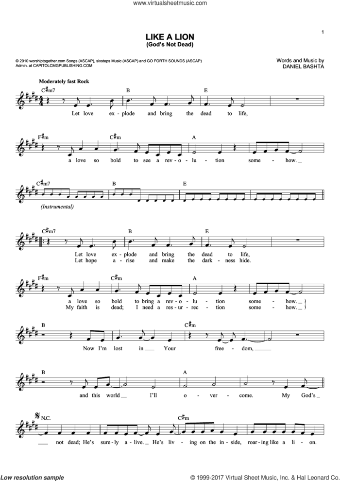 Like A Lion (God's Not Dead) sheet music for voice and other instruments (fake book) by Daniel Bashta, intermediate skill level
