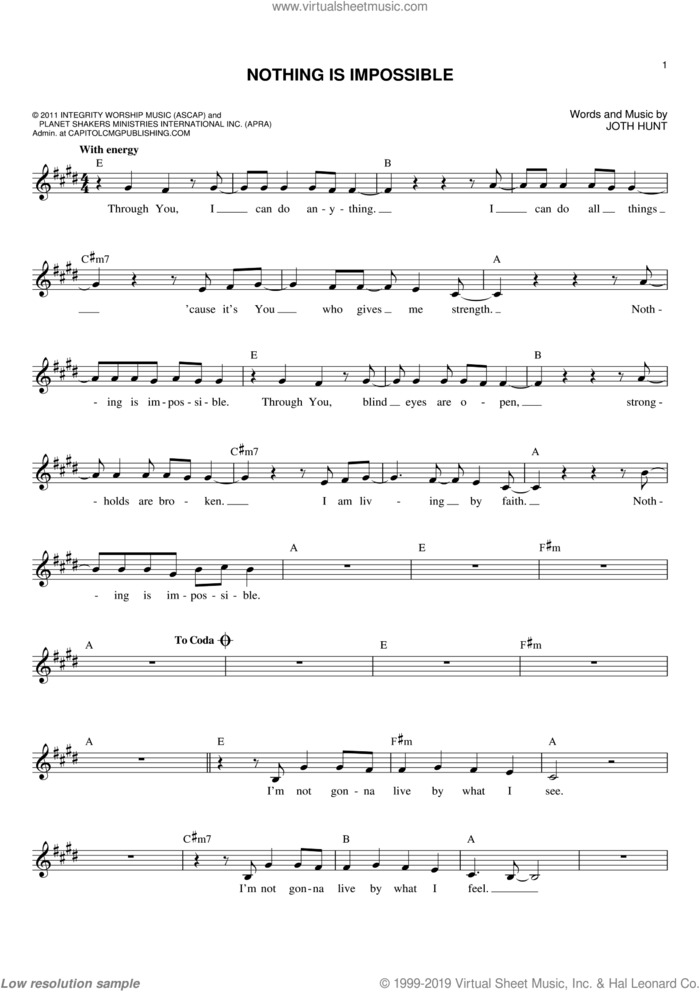 Nothing Is Impossible sheet music for voice and other instruments (fake book) by Joth Hunt, intermediate skill level