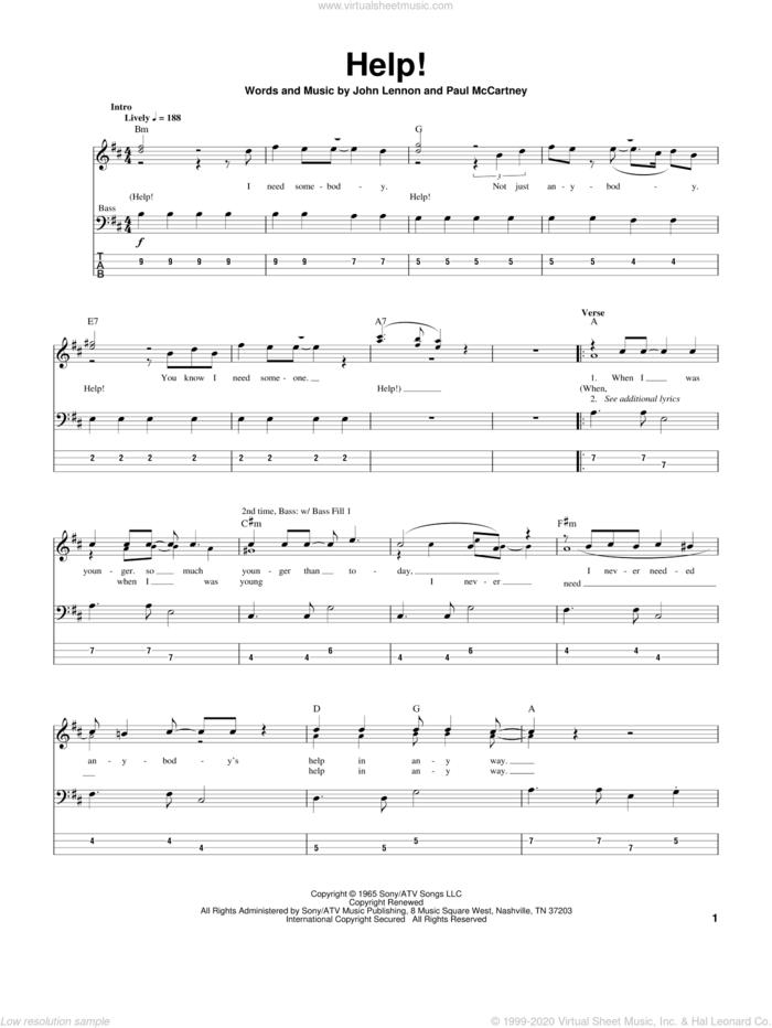 Help! sheet music for bass (tablature) (bass guitar) by The Beatles, John Lennon and Paul McCartney, intermediate skill level