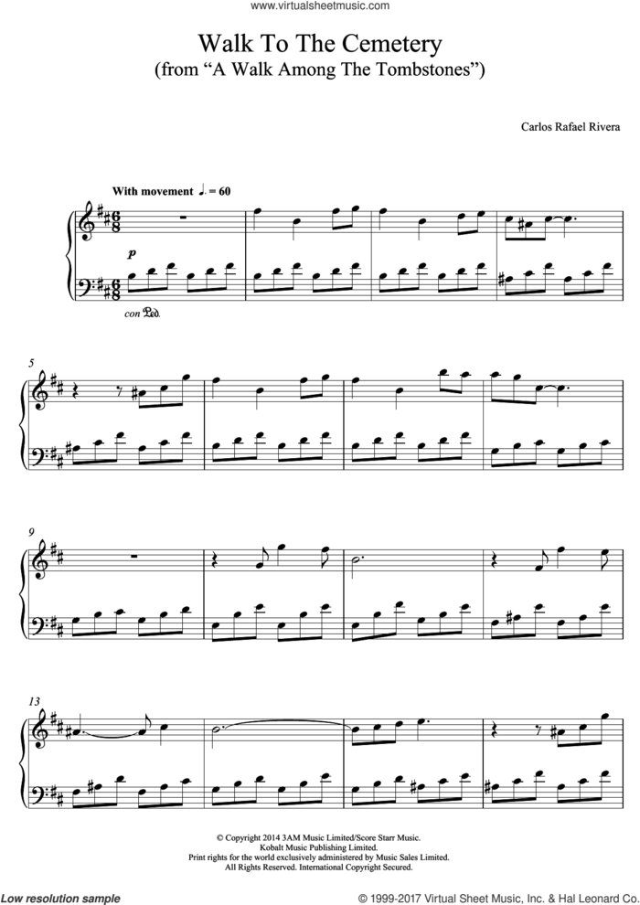 Walk To The Cemetery (from A Walk Among The Tombstones) sheet music for piano solo by Carlos Rafael Rivera, intermediate skill level