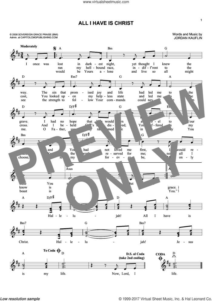 All I Have Is Christ sheet music for voice and other instruments (fake book) by Jordan Kauflin, intermediate skill level