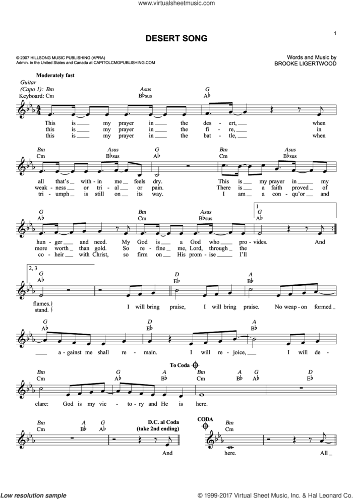Desert Song sheet music for voice and other instruments (fake book) by Hillsong Worship and Brooke Ligertwood, intermediate skill level