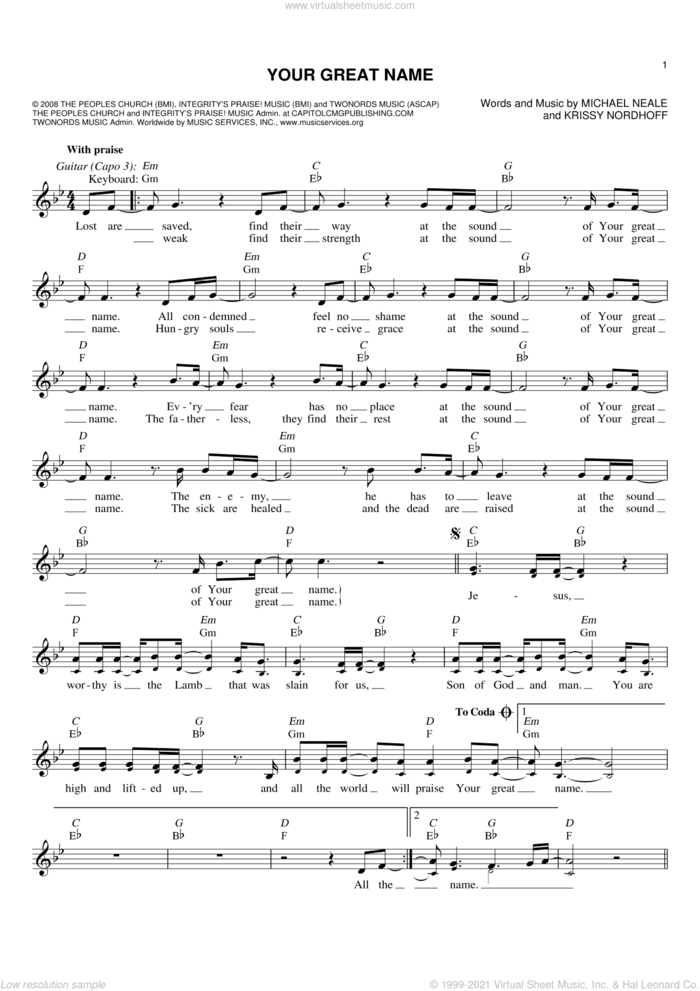 Your Great Name sheet music for voice and other instruments (fake book) by Natalie Grant, Krissy Nordhoff and Michael Neale, intermediate skill level