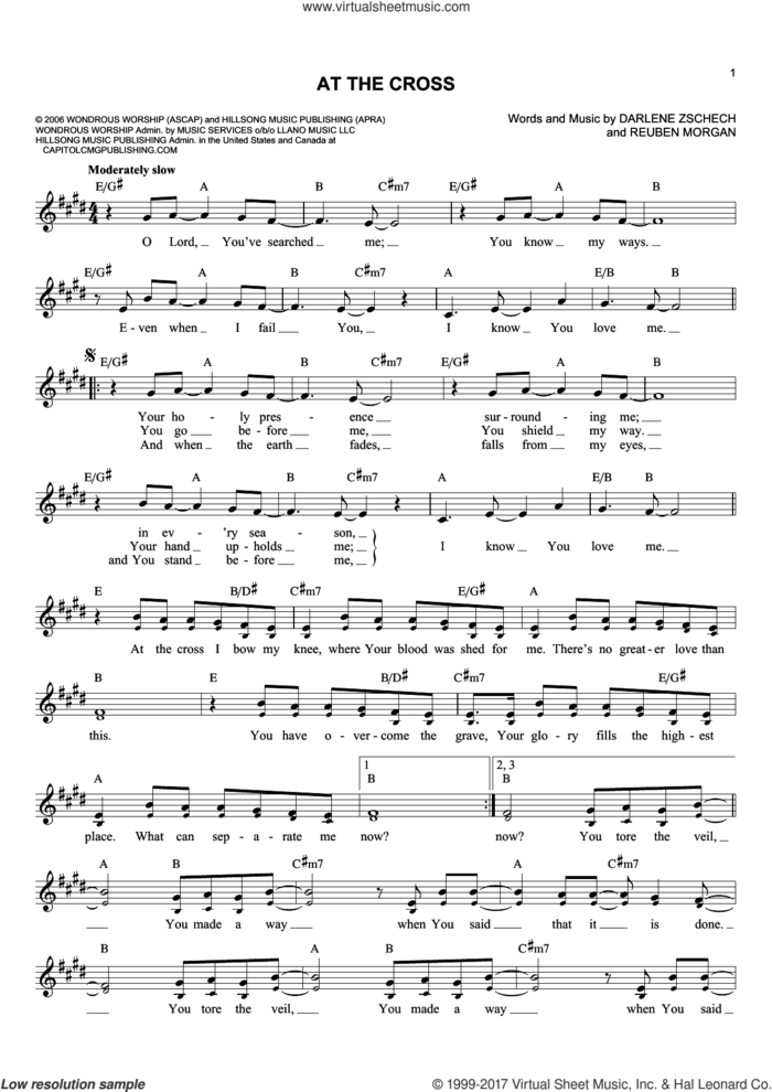 At The Cross sheet music for voice and other instruments (fake book) by Darlene Zschech and Reuben Morgan, intermediate skill level