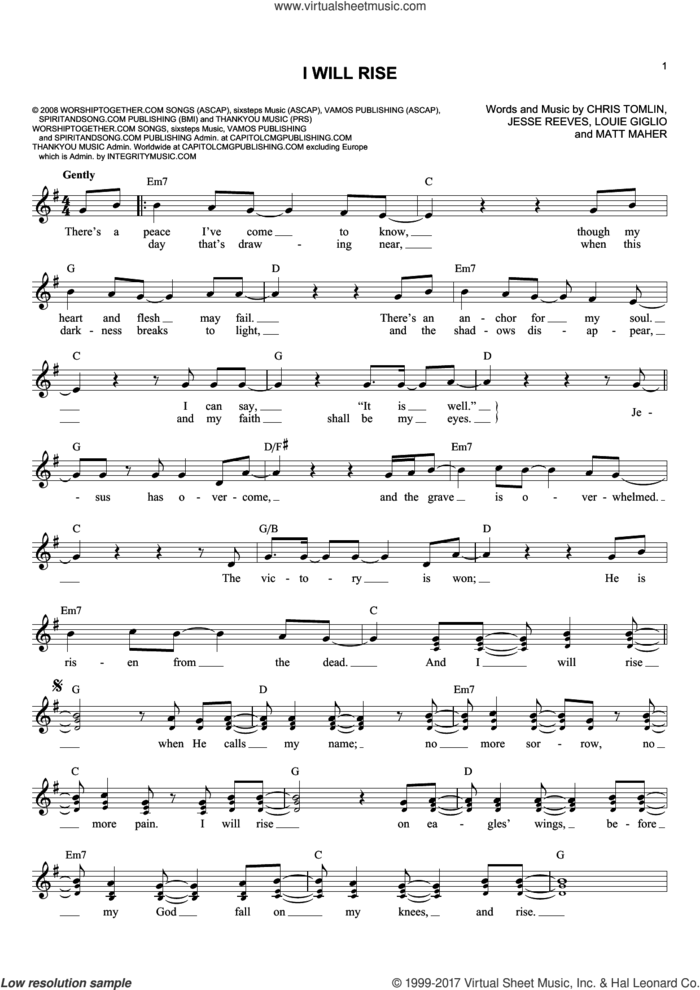 I Will Rise sheet music for voice and other instruments (fake book) by Chris Tomlin, Jesse Reeves, Louis Giglio and Matt Maher, intermediate skill level