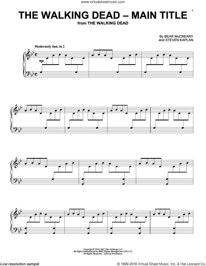The Walking Dead - Main Title sheet music for piano solo by Bear McCreary and Steven Kaplan, intermediate skill level