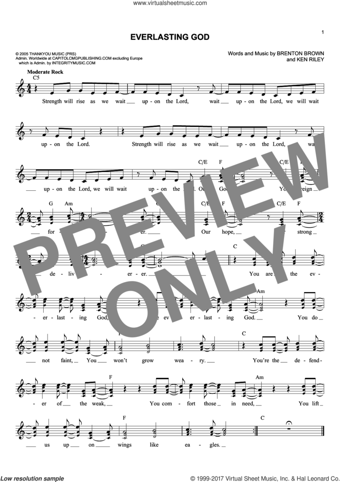 Everlasting God sheet music for voice and other instruments (fake book) by Chris Tomlin, Lincoln Brewster, Brenton Brown and Ken Riley, intermediate skill level
