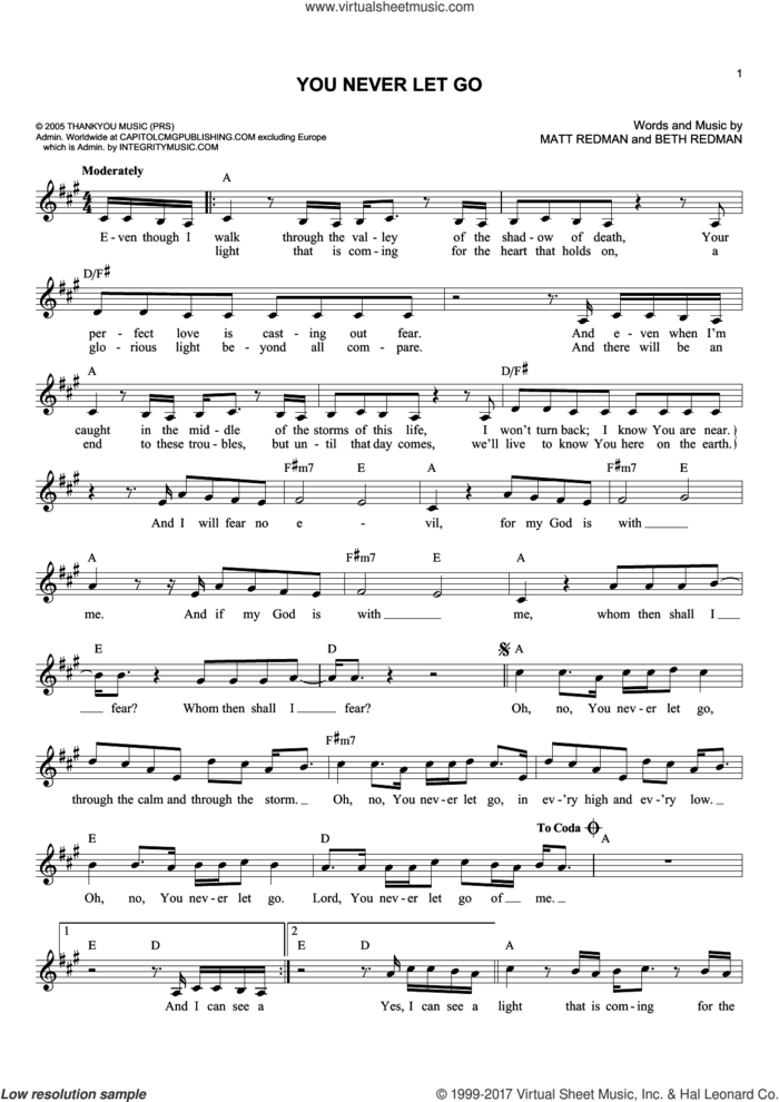 You Never Let Go sheet music for voice and other instruments (fake book) by Matt Redman and Beth Redman, intermediate skill level