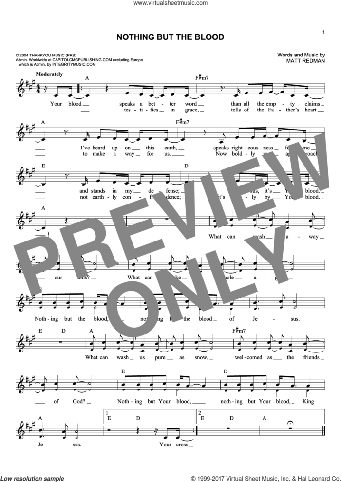 Nothing But The Blood sheet music for voice and other instruments (fake book) by Matt Redman, intermediate skill level