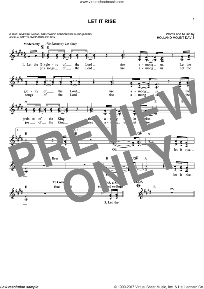 Let It Rise sheet music for voice and other instruments (fake book) by Holland Davis, intermediate skill level