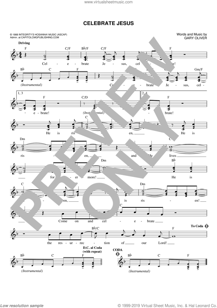 Celebrate Jesus sheet music for voice and other instruments (fake book) by Don Moen and Gary Oliver, intermediate skill level