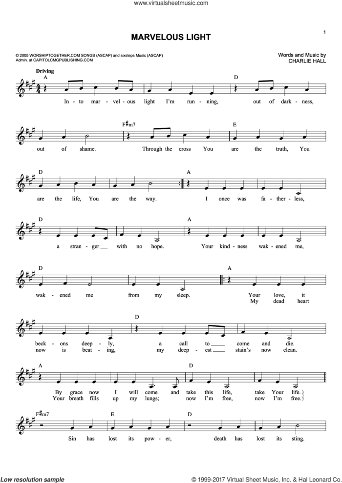 Marvelous Light sheet music for voice and other instruments (fake book) by Charlie Hall, intermediate skill level