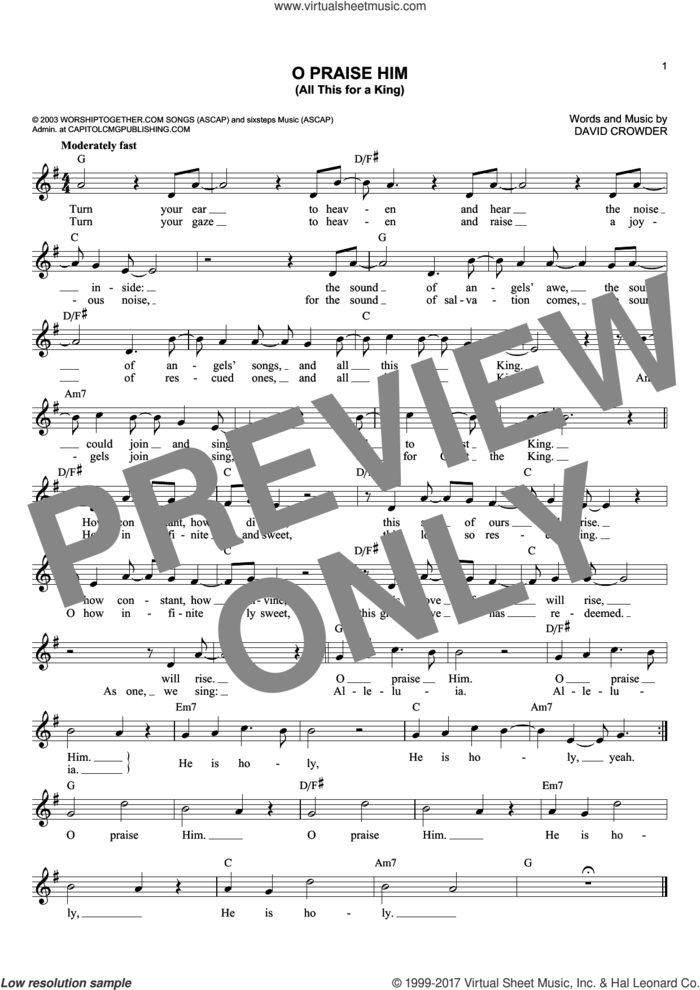O Praise Him (All This For A King) sheet music for voice and other instruments (fake book) by David Crowder and David Crowder Band, intermediate skill level