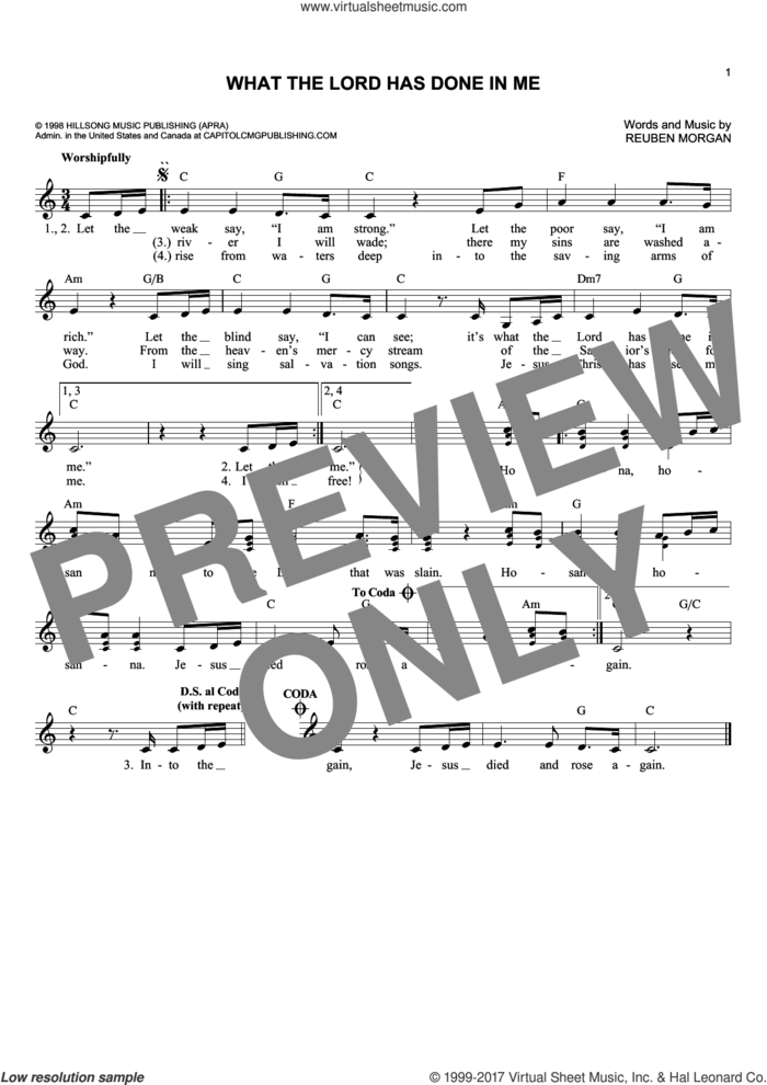 What The Lord Has Done In Me sheet music for voice and other instruments (fake book) by Reuben Morgan, intermediate skill level