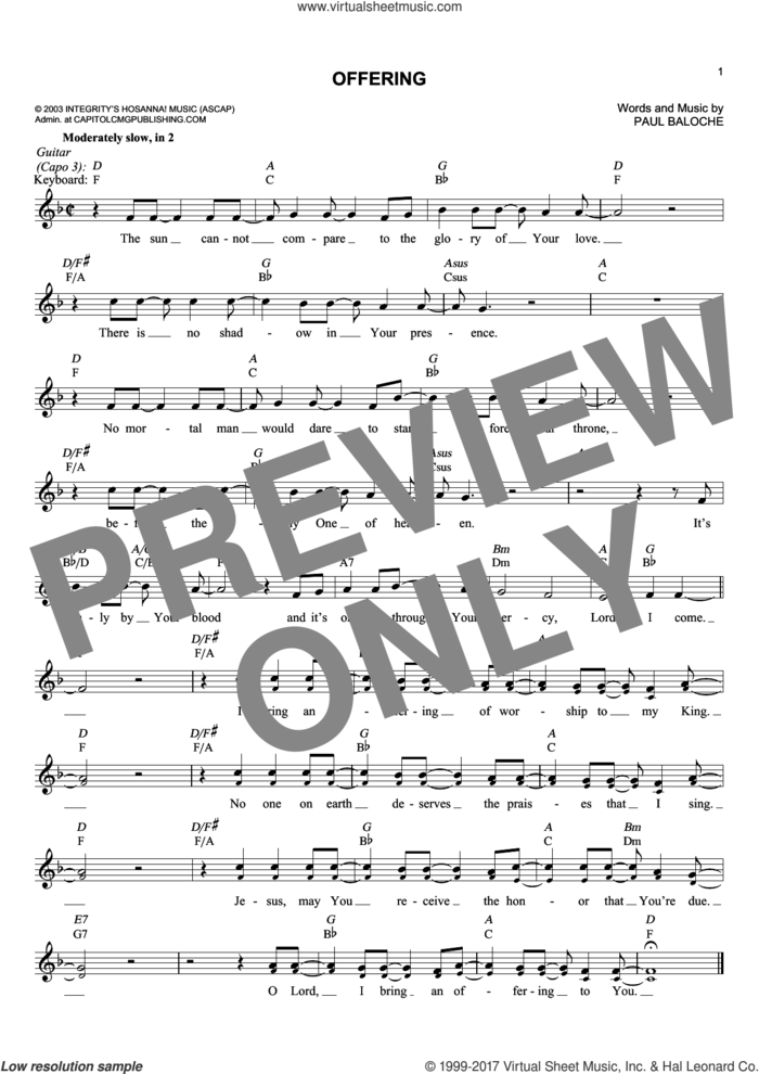 Offering sheet music for voice and other instruments (fake book) by Paul Baloche, intermediate skill level