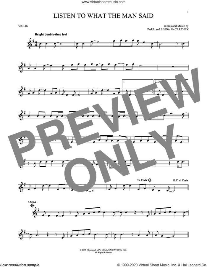 Listen To What The Man Said sheet music for violin solo by Wings, Linda McCartney and Paul McCartney, intermediate skill level