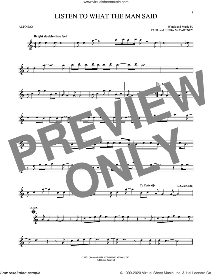 Listen To What The Man Said sheet music for alto saxophone solo by Wings, Linda McCartney and Paul McCartney, intermediate skill level