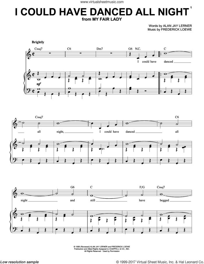 I Could Have Danced All Night sheet music for voice and piano (High Voice) by Frederick Loewe and Alan Jay Lerner, intermediate skill level