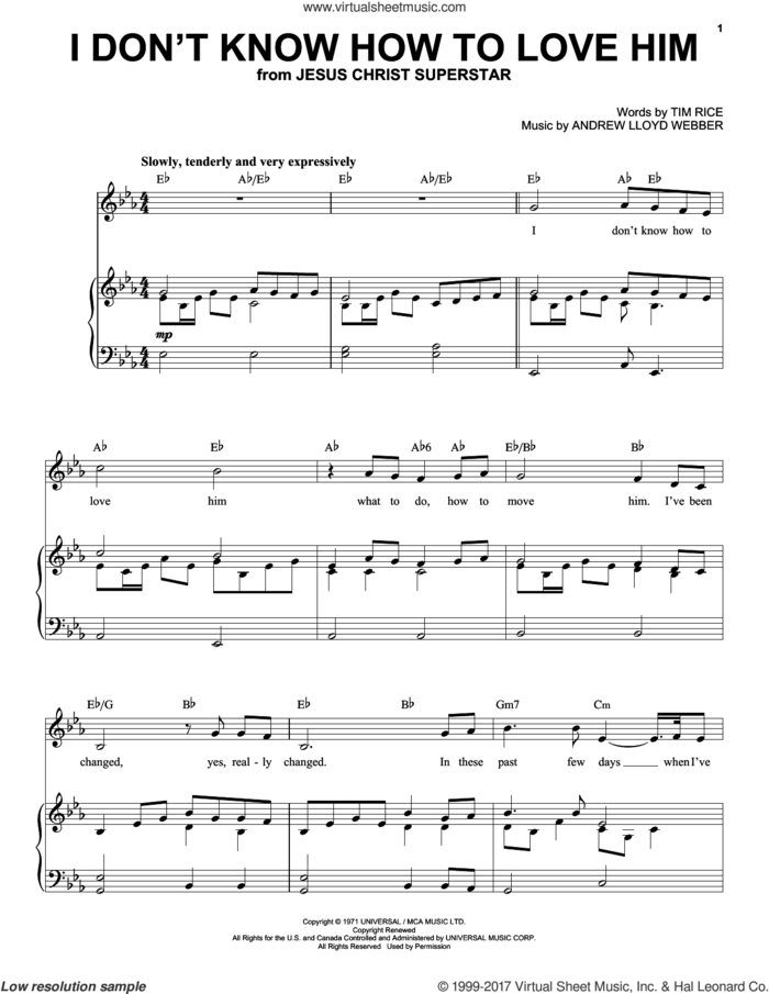 I Don't Know How To Love Him sheet music for voice and piano (High Voice) by Andrew Lloyd Webber, Helen Reddy and Tim Rice, intermediate skill level