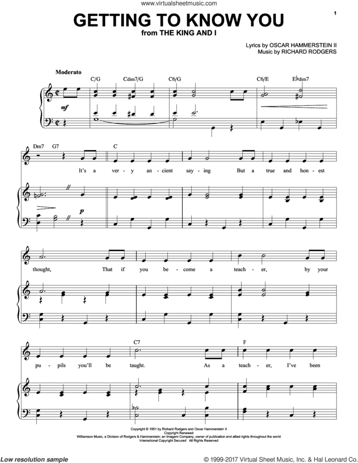 Getting To Know You sheet music for voice and piano (High Voice) by Rodgers & Hammerstein, Oscar II Hammerstein and Richard Rodgers, intermediate skill level