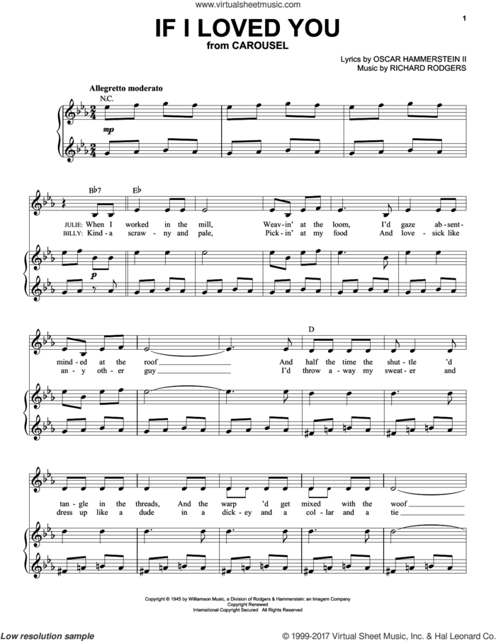 If I Loved You sheet music for voice and piano (High Voice) by Rodgers & Hammerstein, Oscar II Hammerstein and Richard Rodgers, intermediate skill level