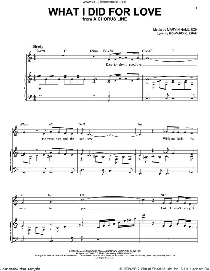 What I Did For Love sheet music for voice and piano (High Voice) by Marvin Hamlisch and Edward Kleban, intermediate skill level
